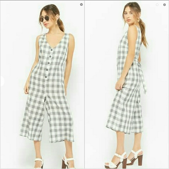 14aa43eba1a Forever 21 Pants - Plaid button front jumpsuit in grey   cream